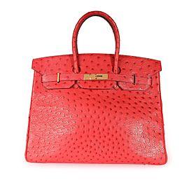 Hermès Rouge Vif Ostrich Birkin 35 GHW