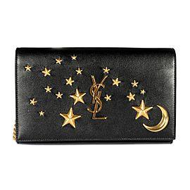 Saint Laurent Black Leather Moon & Stars Chain Wallet