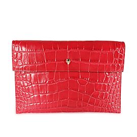 Alexander McQueen Red Crocodile-Embossed Leather Skull Pouch