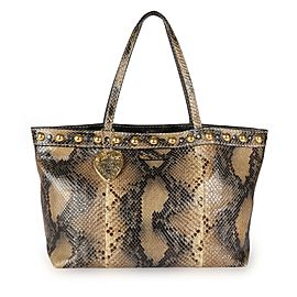 Gucci Brown Studded Python Babouska Tote