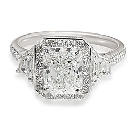 Radiant Halo Diamond Engagement Ring in Platinum GIA Certified F VVS2 2.81