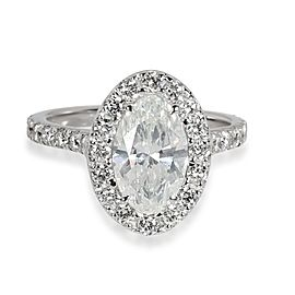 Oval Halo Diamond Engagement Ring in 18K White Gold GIA Certified G SI1 2.06