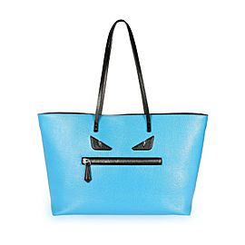 Fendi Blue Vitello Elite Leather Monster Roll Tote