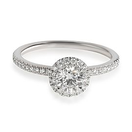 Harry Winston Halo Diamond Engagement Ring in Platinum F VS1 0.85