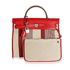 Hermès Rouge Piment Vache Hunter & Ecru Canvas Vibration Herbag 31 PHW