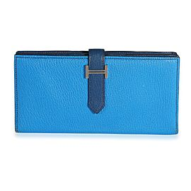 Hermès Bleu Izmir & Bleu Saphir Chévre Leather Béarn Wallet PHW