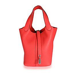 NIB Hermès Rouge De Coeur Clémence Leather Picotin Lock 18 PHW