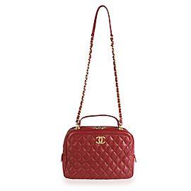 Chanel Burgundy Quilted Calfskin Leather Medium Vanity Case