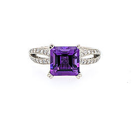 Tacori Platinum 7mm Amethyst & Diamond Ring