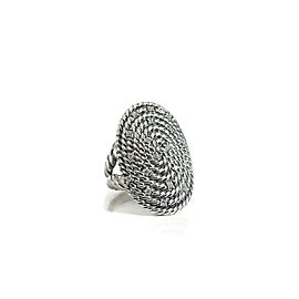 David Yurman Sterling Silver 0.24tcw Diamond Coil Cable Ring Size 7