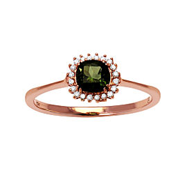 10K Rose Gold Green Tourmaline & .08ct Diamond Ring Size 7