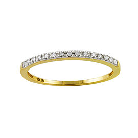 10K Yellow Gold & 0.06ctw Diamond Dainty Stackable Ring Size 8.5