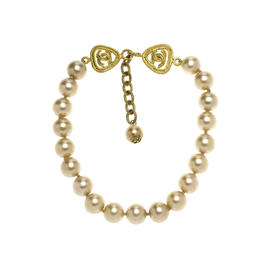 Chanel Gold Tone Metal Baroque Simulated Glass Pearl Choker Necklace