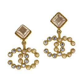 Chanel CC Logo Simulated Glass Pearl Earrings