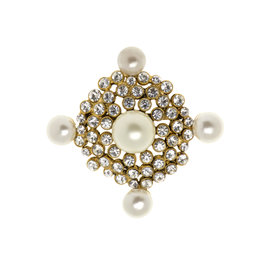 Chanel Goldtone and Simulated Glass Pearl Vintage Brooch
