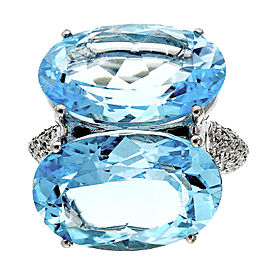 18K White Gold with 22.00ct Double Aquamarine with 0.40ct Diamond Ring Size 7