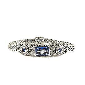 John Hardy Sterling Silver .27tcw Blue Topaz, Diamond Bracelet