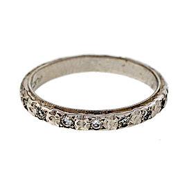 Platinum Diamond Flower Engraved Band Ring Size 6