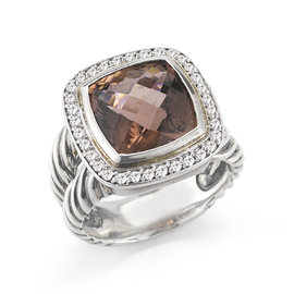 Vintage David Yurman SS 11mm Pink Tourmaline Split Shank Ring Size 6
