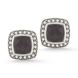 David Yurman SS 7mm Cushion Albion Pave Earrings with Rhodolite Garnet and Diamonds