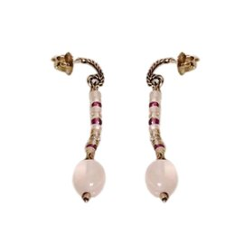 David Yurman Sterling Silver and 18K Gold Rose Quartz with Citrine Diamond Earrings
