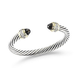 David Yurman SS/18KY 7mm Cable Bracelet with Smoky Quartz and Diamonds
