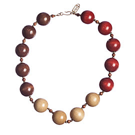 Yves Saint Laurent Safari Wooden Bead Necklace