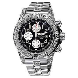 Breitling A13370 Super Avenger Black Dial Watch 2 Row Diamond Bezel Watch