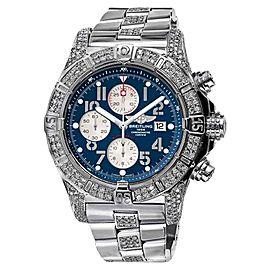 Breitling A13370 Super Avenger 2 Row Diamond Bezel Blue Dial Watch