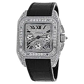 Cartier Santos 100 Xl Chronograph Diamond Dial Mens Watch