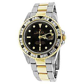 Rolex GMT Master II 16713 Two Tone 18K Gold Black & White Baguette Diamond Bezel Mens Watch