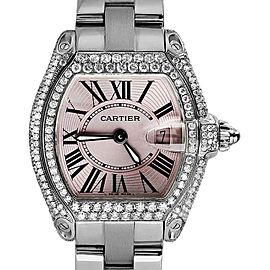 Cartier Roadster Small Pink Dial Stainless Steel Diamonds Bracelet Womens Watch