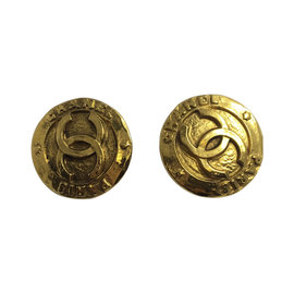 Chanel Gold Toned CC Logo Clip On Earrings
