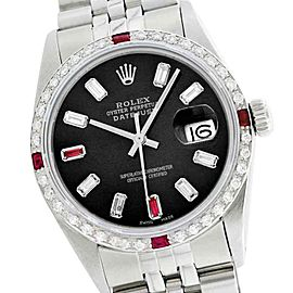 Rolex Datejust 16014 Oyster Perpetual Stainless Steel 18K Gold Diamond & Ruby 36mm Watch