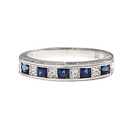 Platinum with Sapphire & Diamond Wedding Band Ring Size 6.5