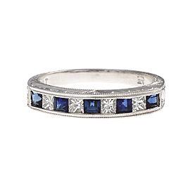 Platinum with Sapphire & Diamond Wedding Band Ring Size 6.5