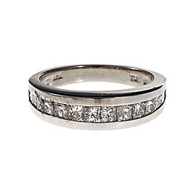 Platinum with 0.85ct Princess Cut Channel Set Diamond Band Ring Size 5.25