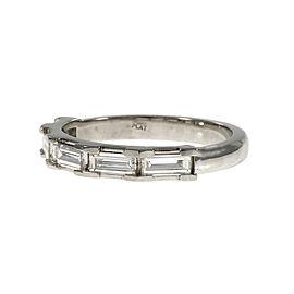 Platinum Step Cut Baguette Diamond Wedding Band Ring Size 6.5
