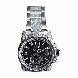 Cartier Calibre De Cartier Automatic With Custom Set Diamonds Mens Watch