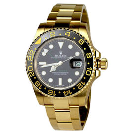 Rolex GMT Master II Black Index Dial Oyster Bracelet 18K Yellow Gold Unisex Watch