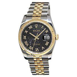 Rolex Datejust 116233 18K Yellow Gold/Steel Black Jubilee Roman Dial Mens Watch