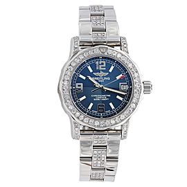 Breitling A7738711.C850 Colt Blue Dial Diamond Bezel 33mm Womens Watch