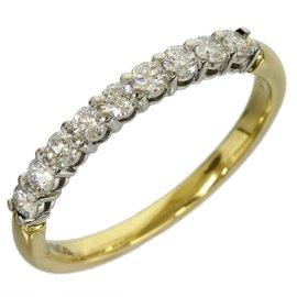 Tiffany & Co. 18K Yellow Gold & Platinum Half Circle Enhanced Diamond Size 5.25 Ring
