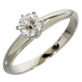 Tiffany & Co. Platinum 0.34 Ct Enhanced Diamond Solitaire Size 5 C8038 Ring