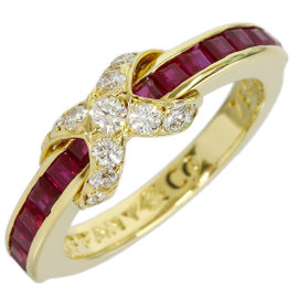 Tiffany & Co. 18K Yellow Gold Enhanced Diamond Ruby Signature Size 5.25 Ring