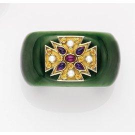Verdura Green Jade 18K Yellow Gold Amethyst Ruby Citrine Cultured Pearl Bracelet