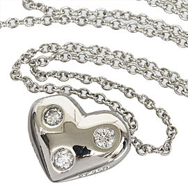 Tiffany & Co. Platinum 3P Enhanced Diamonds Heart Pendant Necklace