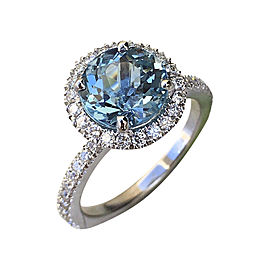 Ben-Dannie Inc. 18K White Gold Blue Aquamarine With Diamond Halo Ring