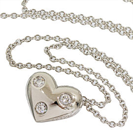 Tiffany & Co. 950 Platinum Diamonds Heart Pendant Necklace