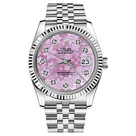 Rolex Datejust Stainless Steel Mother Of Pearl Diamond Pink Flower Dial Jubilee 26mm Watch